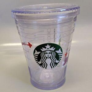 2011 Starbucks Holiday Fox Tumbler 12 oz Clear